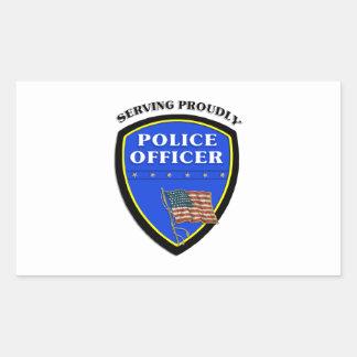 Insignia del oficial de policía pegatina rectangular