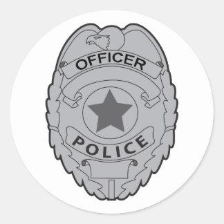 INSIGNIA DEL OFICIAL DE POLICÍA PEGATINA REDONDA