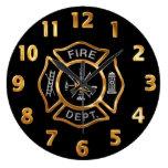 Insignia del oro del cuerpo de bomberos reloj de pared