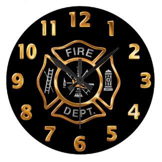 Insignia del oro del cuerpo de bomberos reloj redondo grande