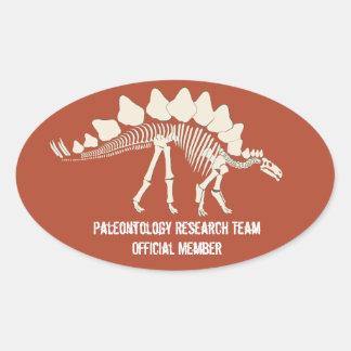 Insignia del personalizable de la paleontología de pegatina de óval personalizadas
