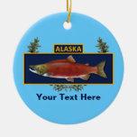 Insignia del pescador del combate de Alaska Adorno Navideño Redondo De Cerámica