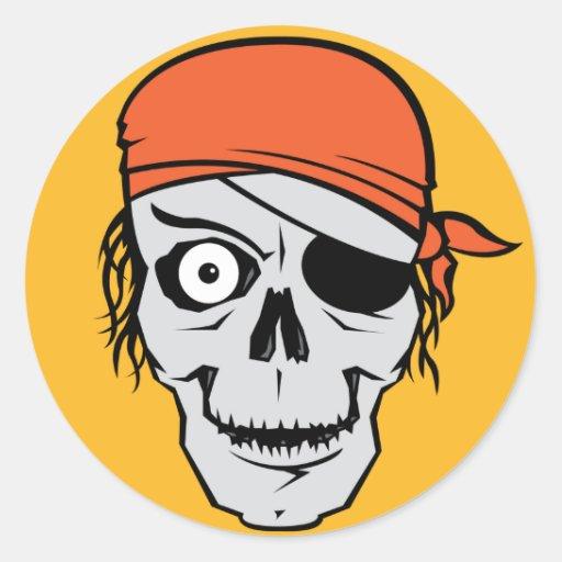 Insignia del pirata de los Undead Pegatina Redonda