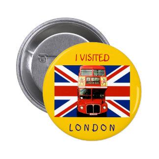 Insignia del recuerdo con el autobús y la bandera  pin redondo de 2 pulgadas