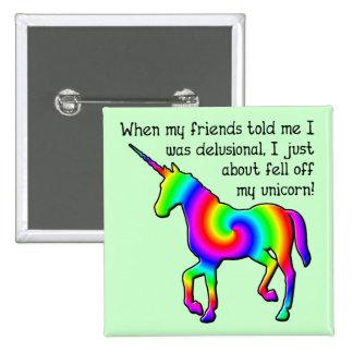 Insignia divertida del botón del unicornio