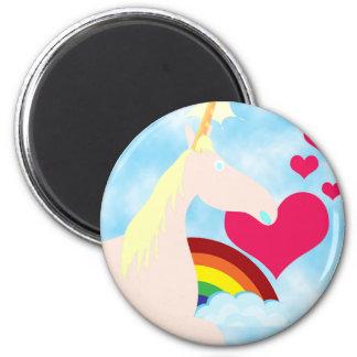 Insignia dulce del unicornio y del arco iris imán redondo 5 cm