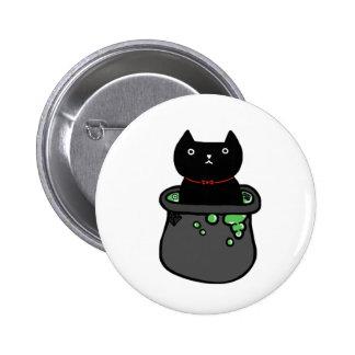 Insignia fantasmagórica de la bruja del gato negro pin redondo 5 cm