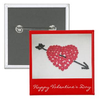 Insignia feliz del el día de San Valentín del cora Pin Cuadrado
