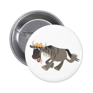 Insignia feliz linda del botón del Wildebeest del  Pin Redondo De 2 Pulgadas