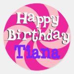 Insignia femenina del cumpleaños del molinillo de etiquetas redondas