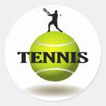 Insignia flotante del tenis pegatina redonda