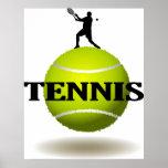 Insignia flotante del tenis poster