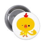 Insignia fresca linda del botón del pollo del dibu