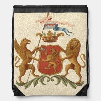 Insignia heráldica majestuosa con el grifo y el mochila