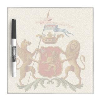 Insignia heráldica majestuosa con el grifo y el pizarras blancas de calidad