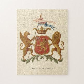 Insignia heráldica majestuosa con el grifo y el puzzle con fotos