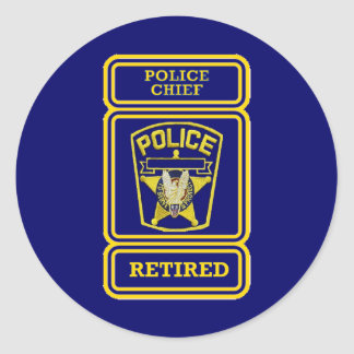 Insignia jubilada del jefe de policía pegatina redonda