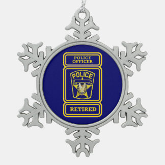 Insignia jubilada del oficial de policía adorno de peltre en forma de copo de nieve