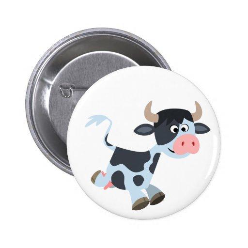 Insignia linda del botón de la vaca del dibujo ani pin