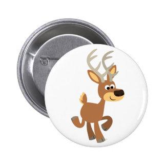 Insignia linda del botón de los ciervos del dibujo pin redondo de 2 pulgadas