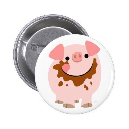 Insignia linda del botón del cerdo del dibujo anim
