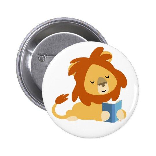Insignia linda del botón del león del dibujo anima pin redondo de 2 pulgadas