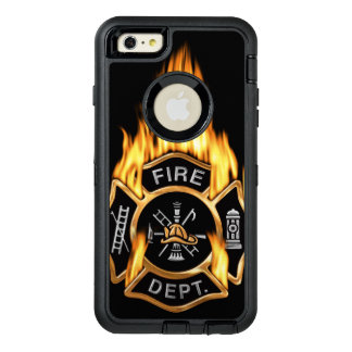 Insignia llameante del cuerpo de bomberos del oro funda OtterBox defender para iPhone 6 plus