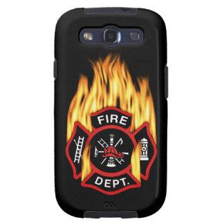 Insignia llameante del cuerpo de bomberos galaxy s3 carcasas