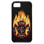 Insignia llameante del cuerpo de bomberos iPhone 5 Case-Mate carcasas