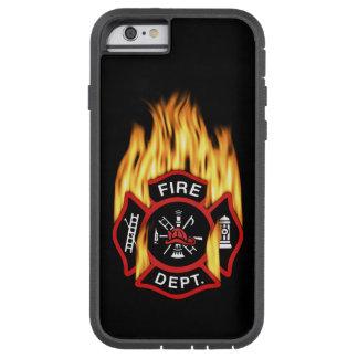 Insignia llameante del cuerpo de bomberos funda de iPhone 6 tough xtreme