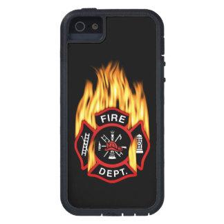 Insignia llameante del cuerpo de bomberos funda para iPhone 5 tough xtreme