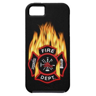 Insignia llameante del cuerpo de bomberos iPhone 5 funda