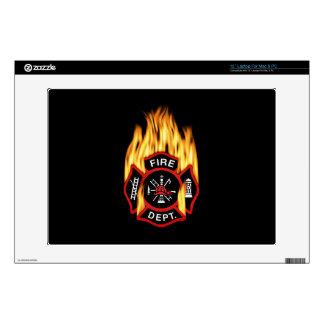 Insignia llameante del cuerpo de bomberos portátil calcomanía
