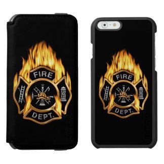 Insignia llameante del oro del bombero funda billetera para iPhone 6 watson