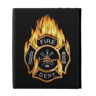 Insignia llameante del oro del cuerpo de bomberos