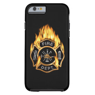 Insignia llameante del oro del cuerpo de bomberos funda para iPhone 6 tough