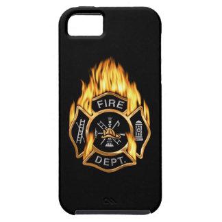 Insignia llameante del oro del cuerpo de bomberos iPhone 5 fundas