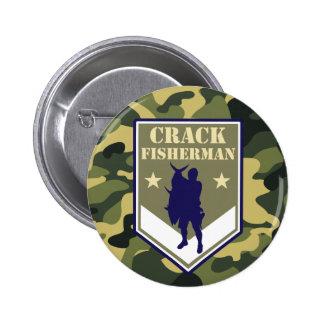 Insignia militar de la pesca del estilo: Pescador Pin Redondo De 2 Pulgadas