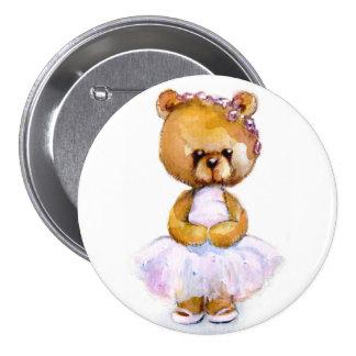 Insignia minúscula del botón del oso del ballet pin redondo de 3 pulgadas