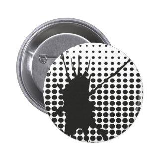 Insignia negra del botón de Splat de la tinta Pin