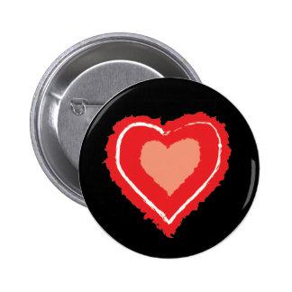 Insignia negra del botón del corazón del Grunge Pin Redondo De 2 Pulgadas