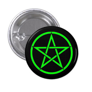 Insignia negra y verde del botón del Pentagram del Pins