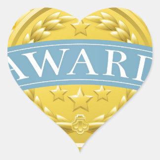 Insignia o medalla del premio pegatina en forma de corazón
