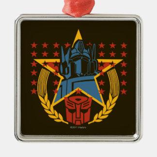 Insignia patriótica de Autobot Adorno Cuadrado Plateado