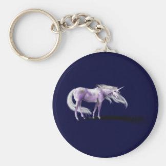 Insignia púrpura del unicornio llavero redondo tipo pin