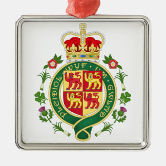 Insignia real de País de Gales Adorno Navideño Cuadrado De Metal