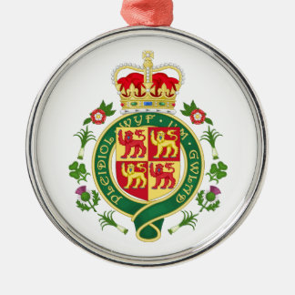 Insignia real de País de Gales Adorno Navideño Redondo De Metal