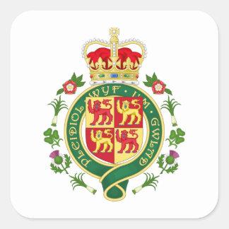 Insignia real de País de Gales Pegatina Cuadrada