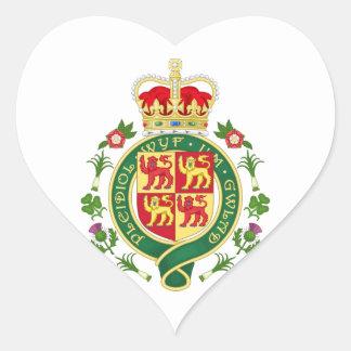 Insignia real de País de Gales Pegatina En Forma De Corazón
