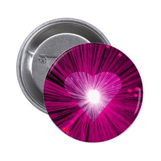 Insignia redonda del botón del corazón rosado pin redondo de 2 pulgadas